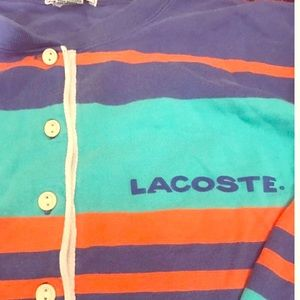 Vintage Men's Lacoste Striped Henley Tee-Shirt